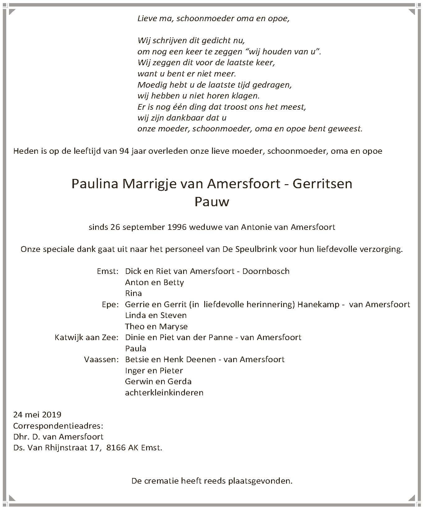 Paulina Marrigje Van Amersfoort Gerritsen De Dijkpoorter